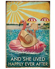 Flamingo Pool Girl Reading Book Lived Happily 16x24 Poster front