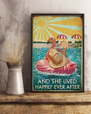 Flamingo Pool Girl Reading Book Lived Happily 16x24 Poster lifestyle-poster-3