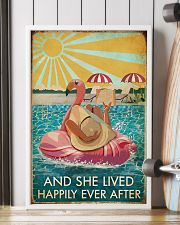 Flamingo Pool Girl Reading Book Lived Happily 16x24 Poster lifestyle-poster-4