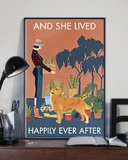 Vintage Lived Happily Gardening Golden Retriever 16x24 Poster lifestyle-poster-2
