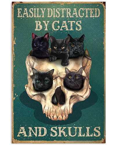 Retro Teal Easily Distracted By Cats And Skulls
