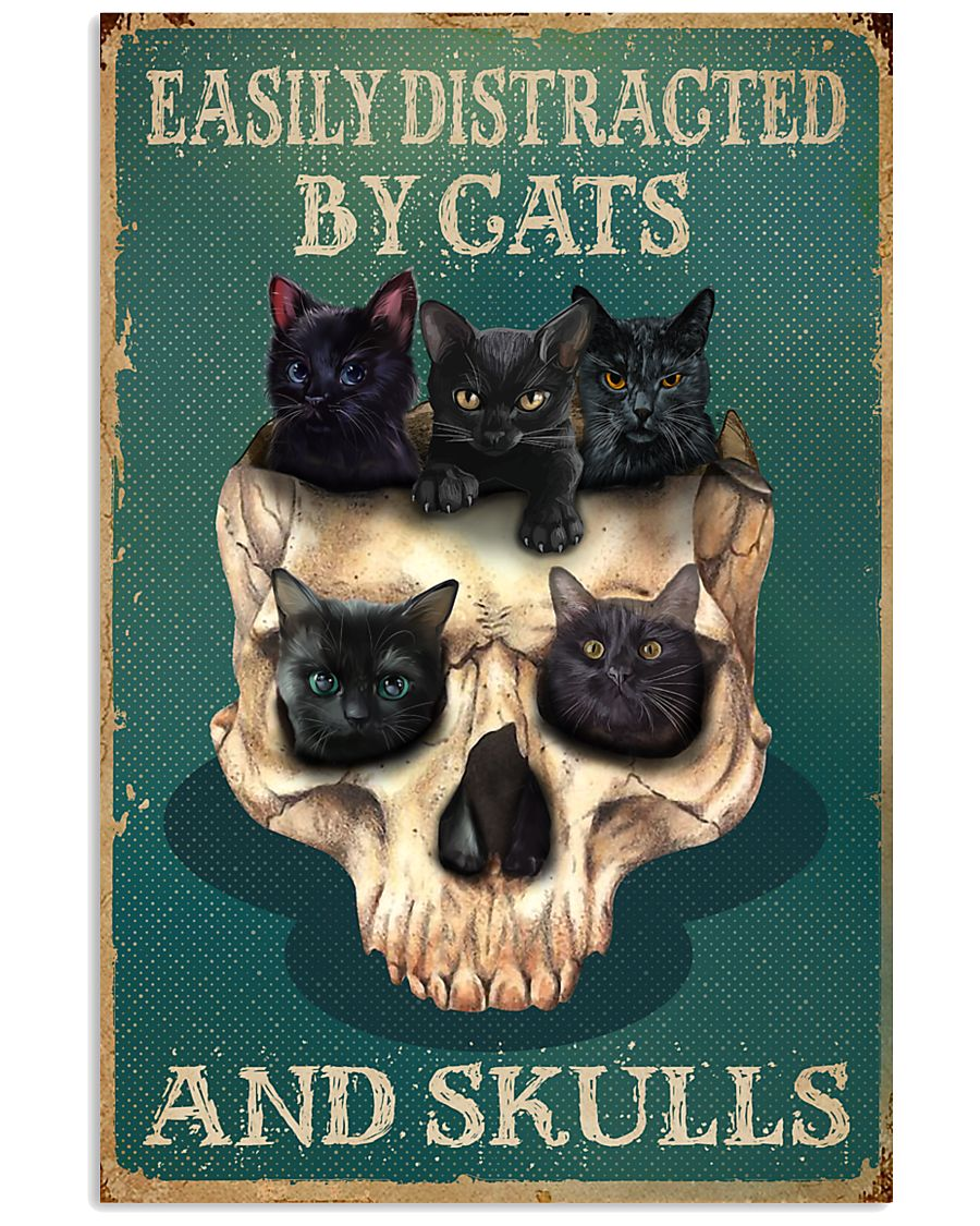 Retro Teal Easily Distracted By Cats And Skulls 16x24 Poster