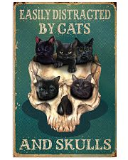 Retro Teal Easily Distracted By Cats And Skulls 16x24 Poster front