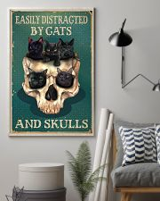 Retro Teal Easily Distracted By Cats And Skulls 16x24 Poster lifestyle-poster-1