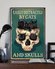 Retro Teal Easily Distracted By Cats And Skulls 16x24 Poster lifestyle-poster-2