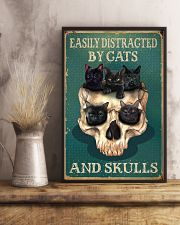 Retro Teal Easily Distracted By Cats And Skulls 16x24 Poster lifestyle-poster-3