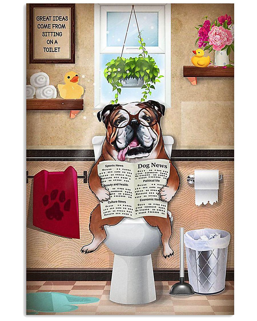 Bulldog Reading Dog News 11x17 Poster