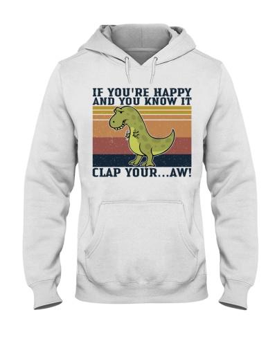 Retro Navy Dinosaur Clap Your Hands