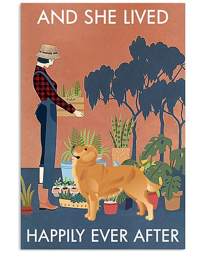Vintage Lived Happily Gardening Golden Retriever