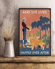 Vintage Lived Happily Gardening Golden Retriever 16x24 Poster lifestyle-poster-3
