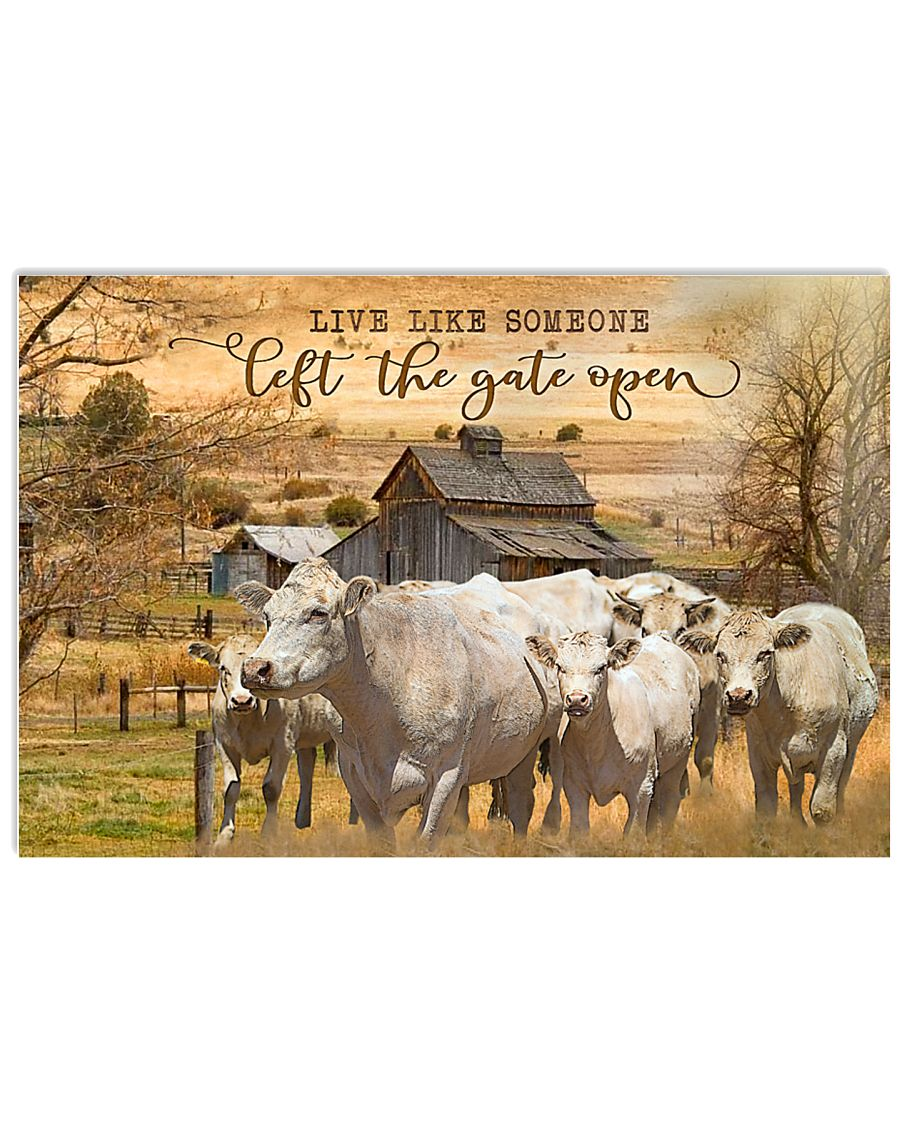 Charolais cattle Let The Gate Open 17x11 Poster