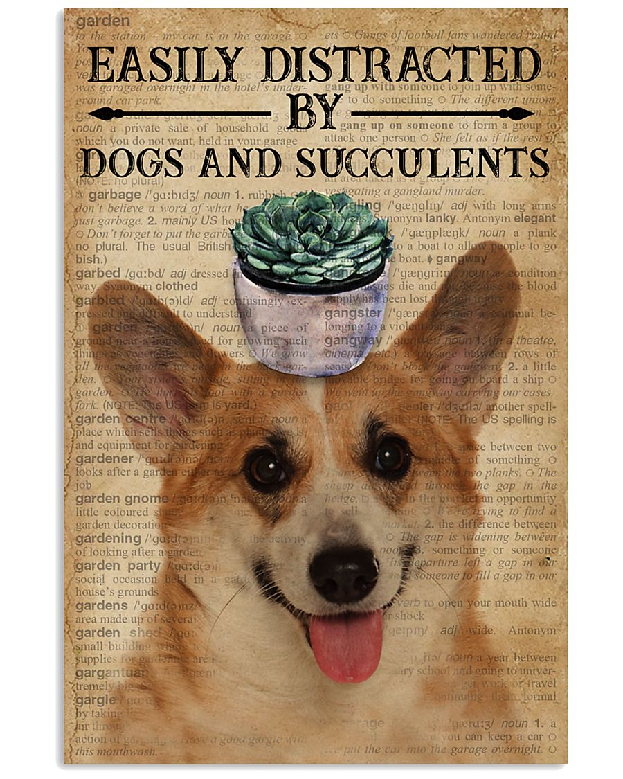 Dictionary Easily Distracted By Corgi and Garden 11x17 Poster
