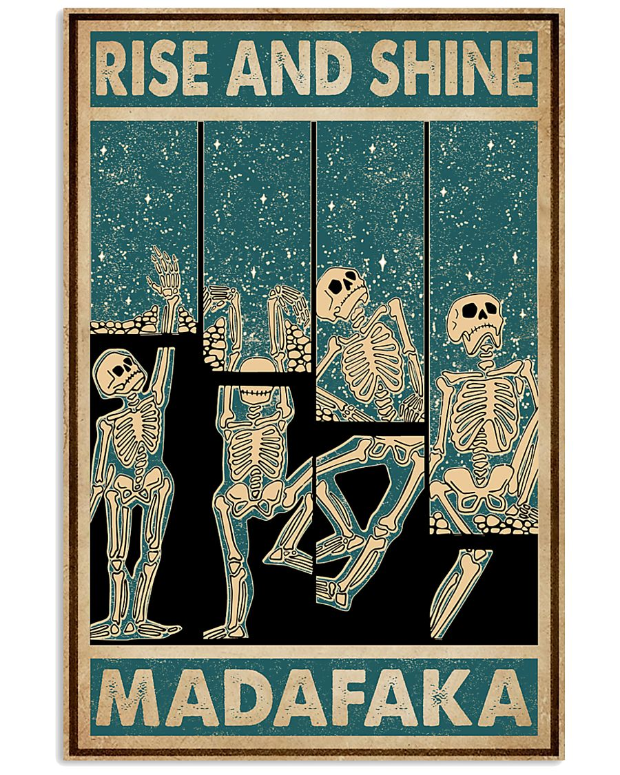 Retro Teal Rise And Shine Skeleton 11x17 Poster