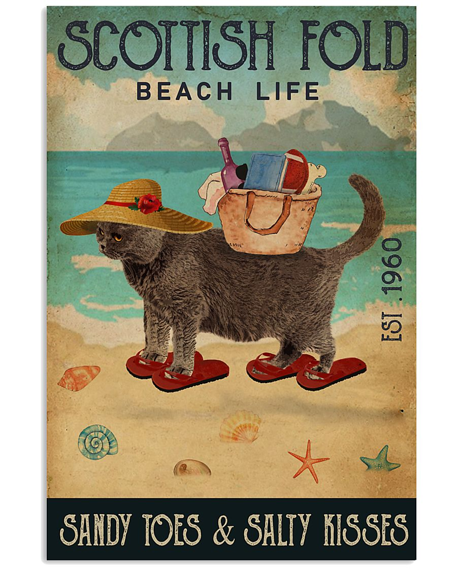 Beach Life Sandy Toes Scottish Fold 11x17 Poster