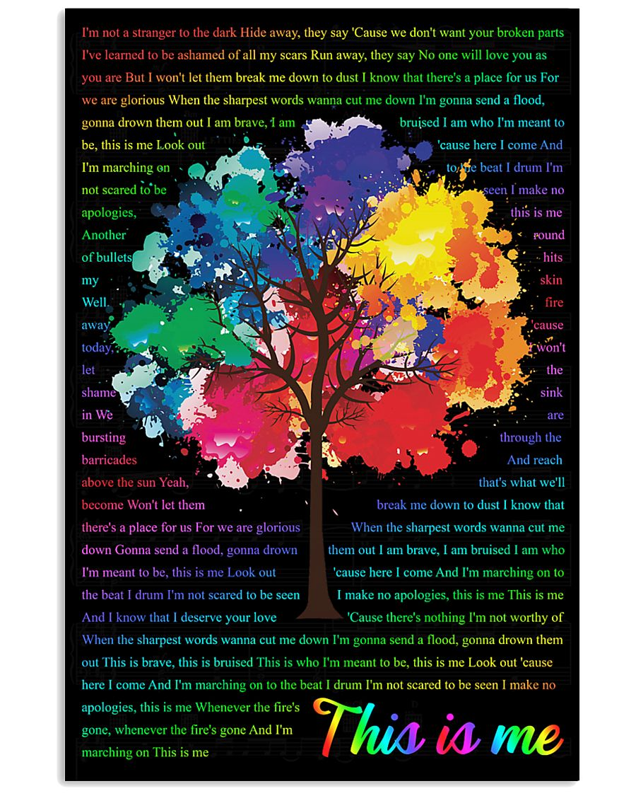 Vintage Lyrics This Is Me Colorful Tree Black 11x17 Poster