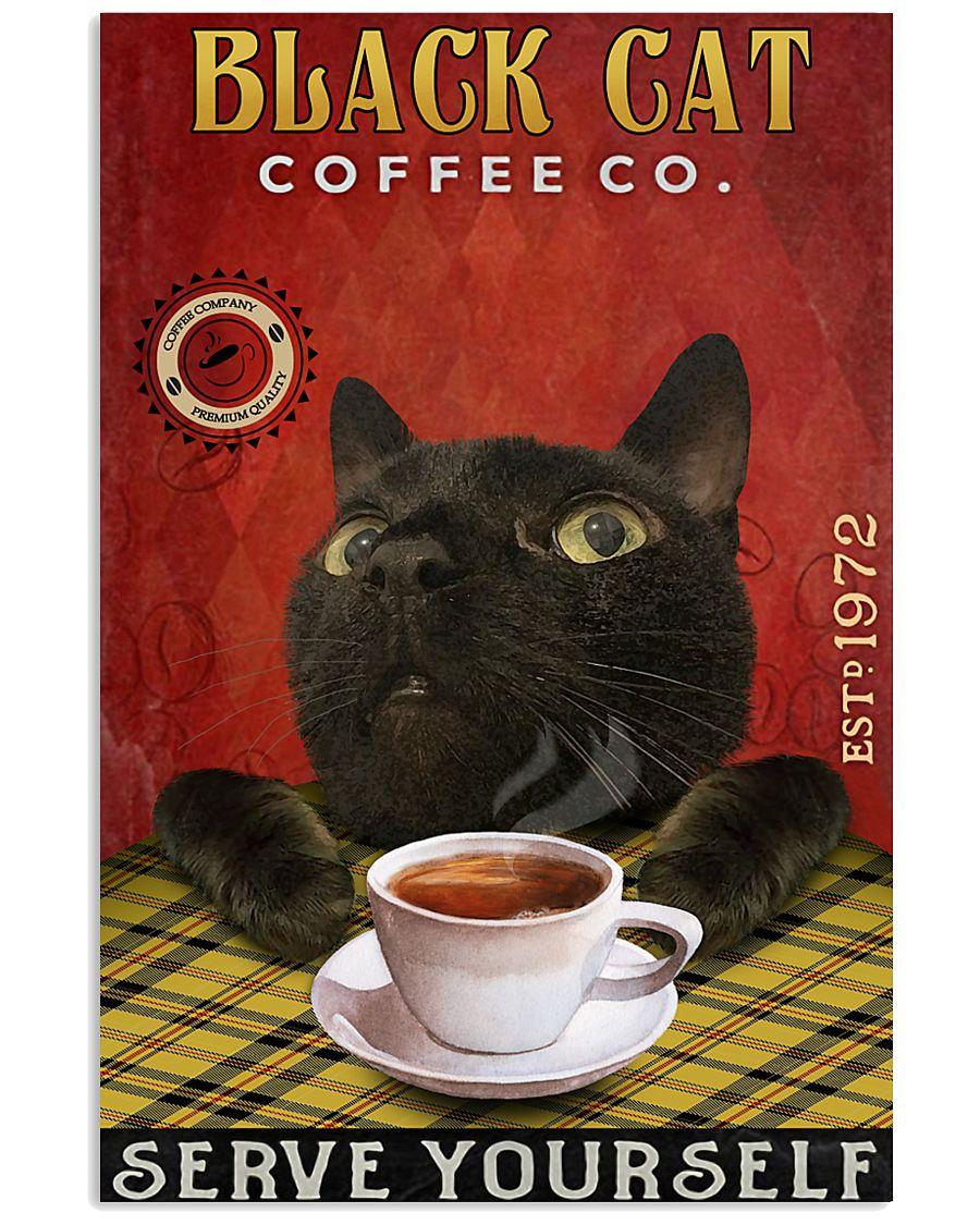 Lazy Coffee Company Black Cat 11x17 Poster