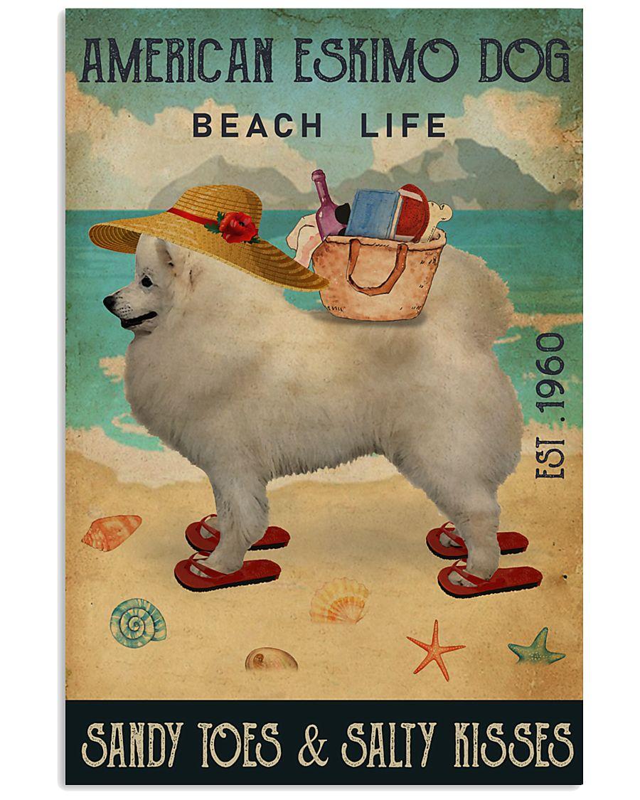 Beach Life Sandy Toes American Eskimo Dog 11x17 Poster