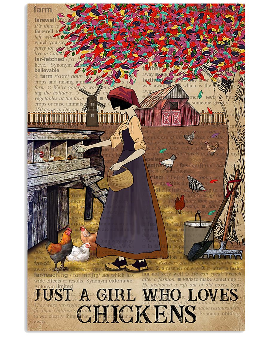 Dictionary Who loves Chicken Farm Girl 11x17 Poster