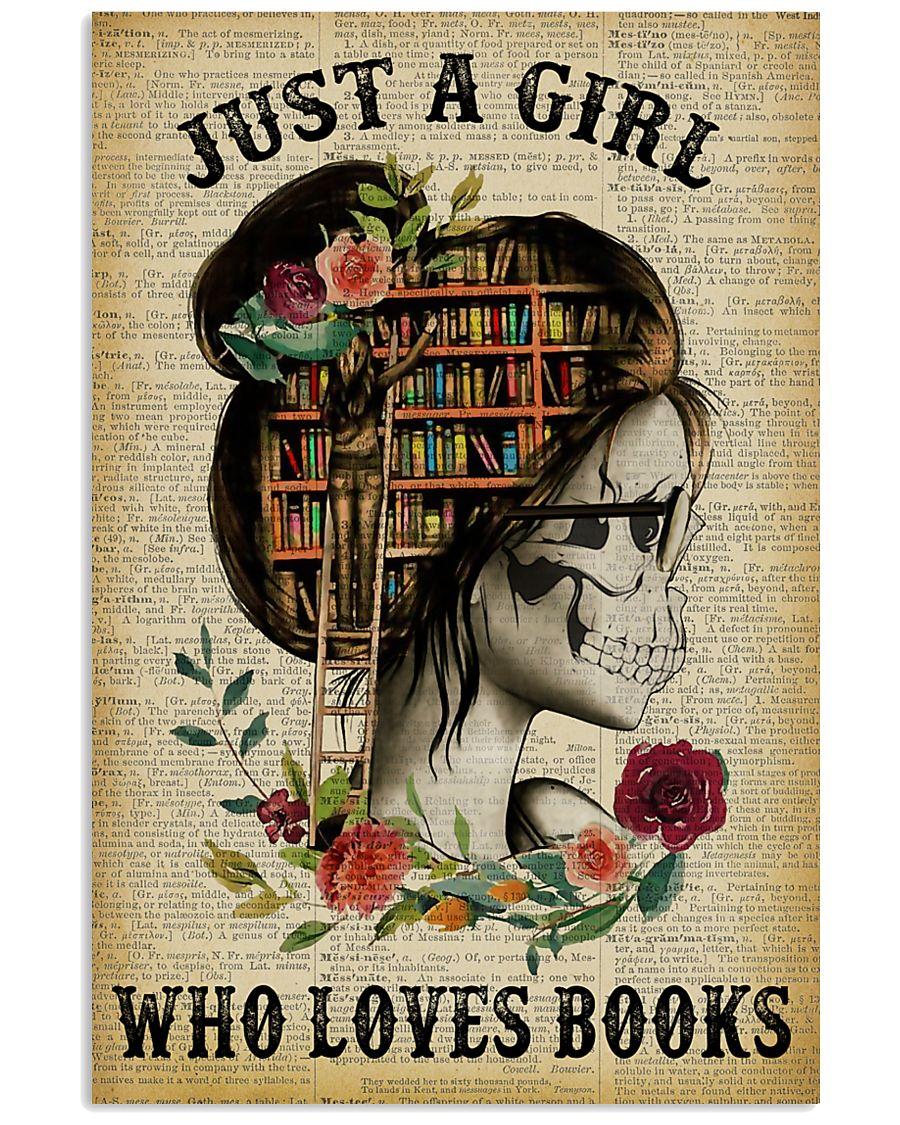 A Girl Who Loves Books Skeleton Reading 11x17 Poster