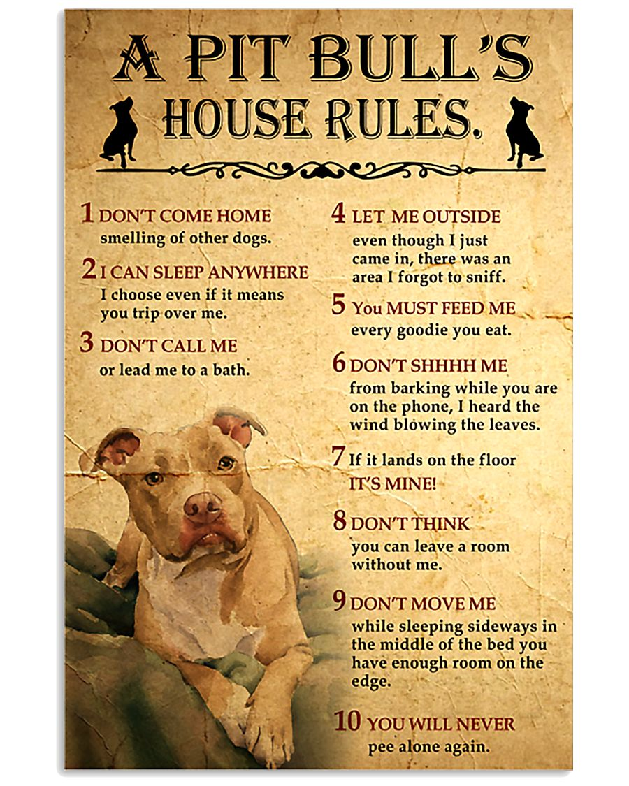 Pit bull House Rules 11x17 Poster