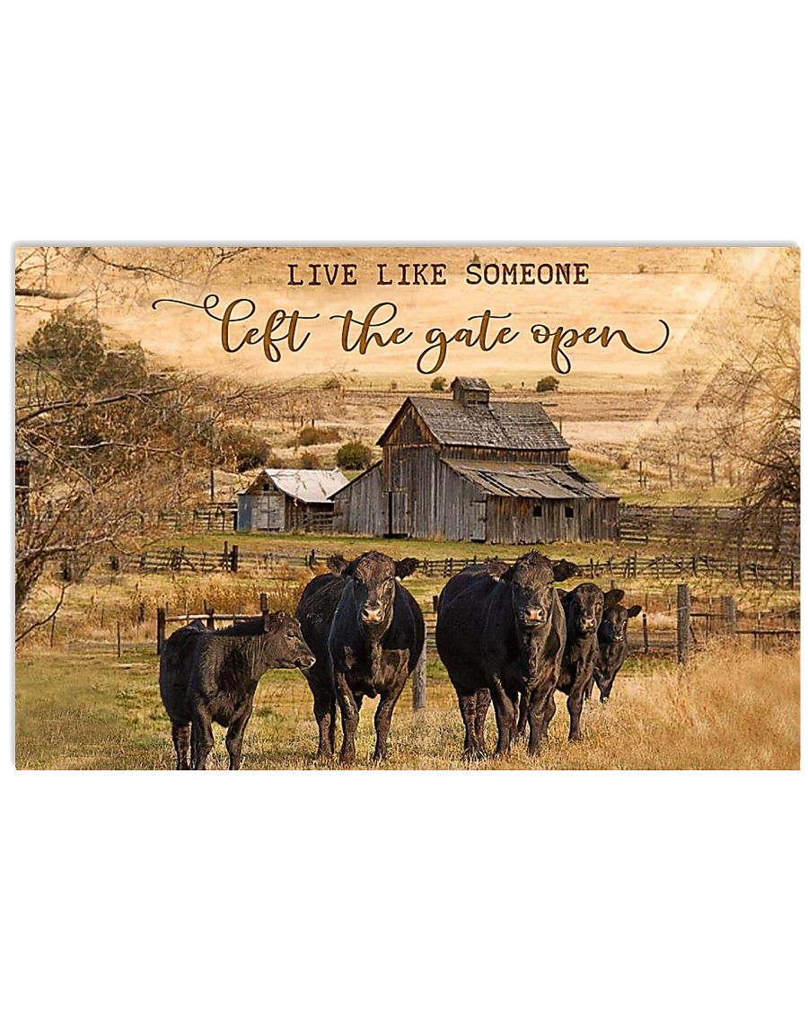Angus Cattle Let The Gate Open 24x16 Poster