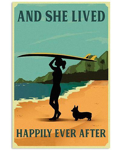 Vintage She Lived Happily Surfing Girl Corgi