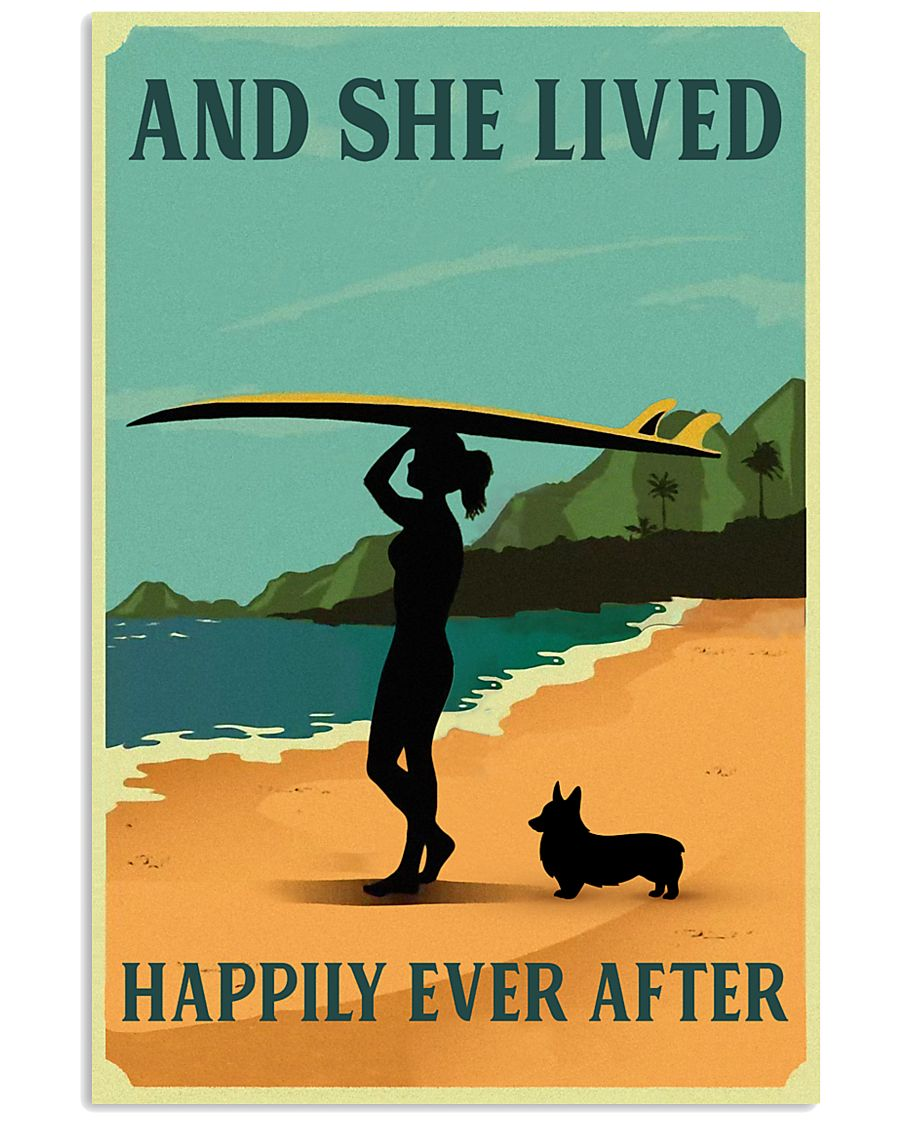 Vintage She Lived Happily Surfing Girl Corgi 11x17 Poster