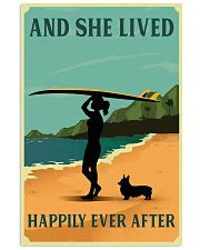 Vintage She Lived Happily Surfing Girl Corgi 11x17 Poster front