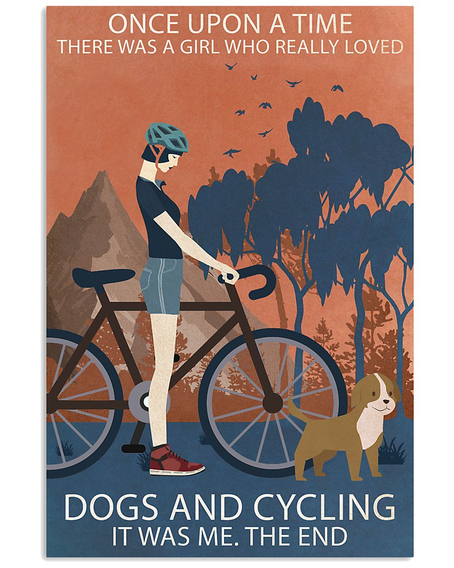 Vintage Girl Once Upon A Time Dogs And Cycling 16x24 Poster