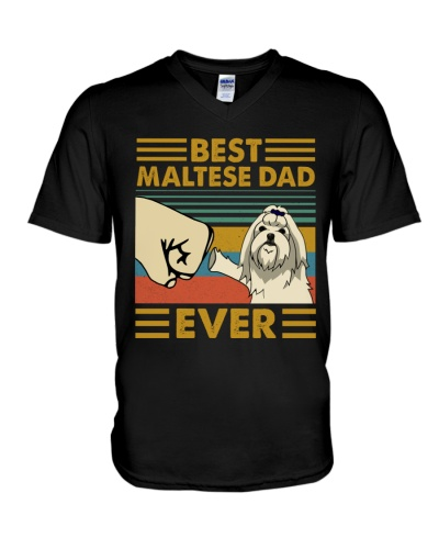 Retro Blue Maltese Dad Ever
