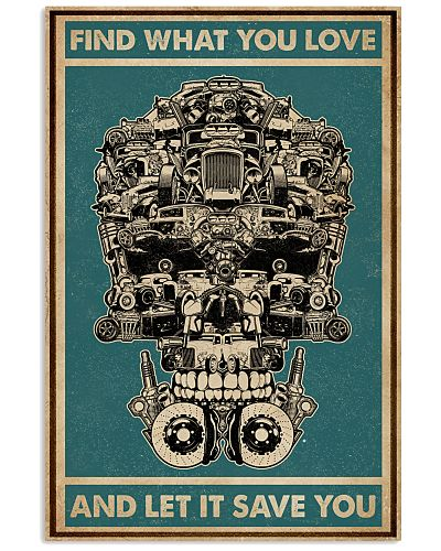 Retro Green Find What You Love Hot Rod Skull