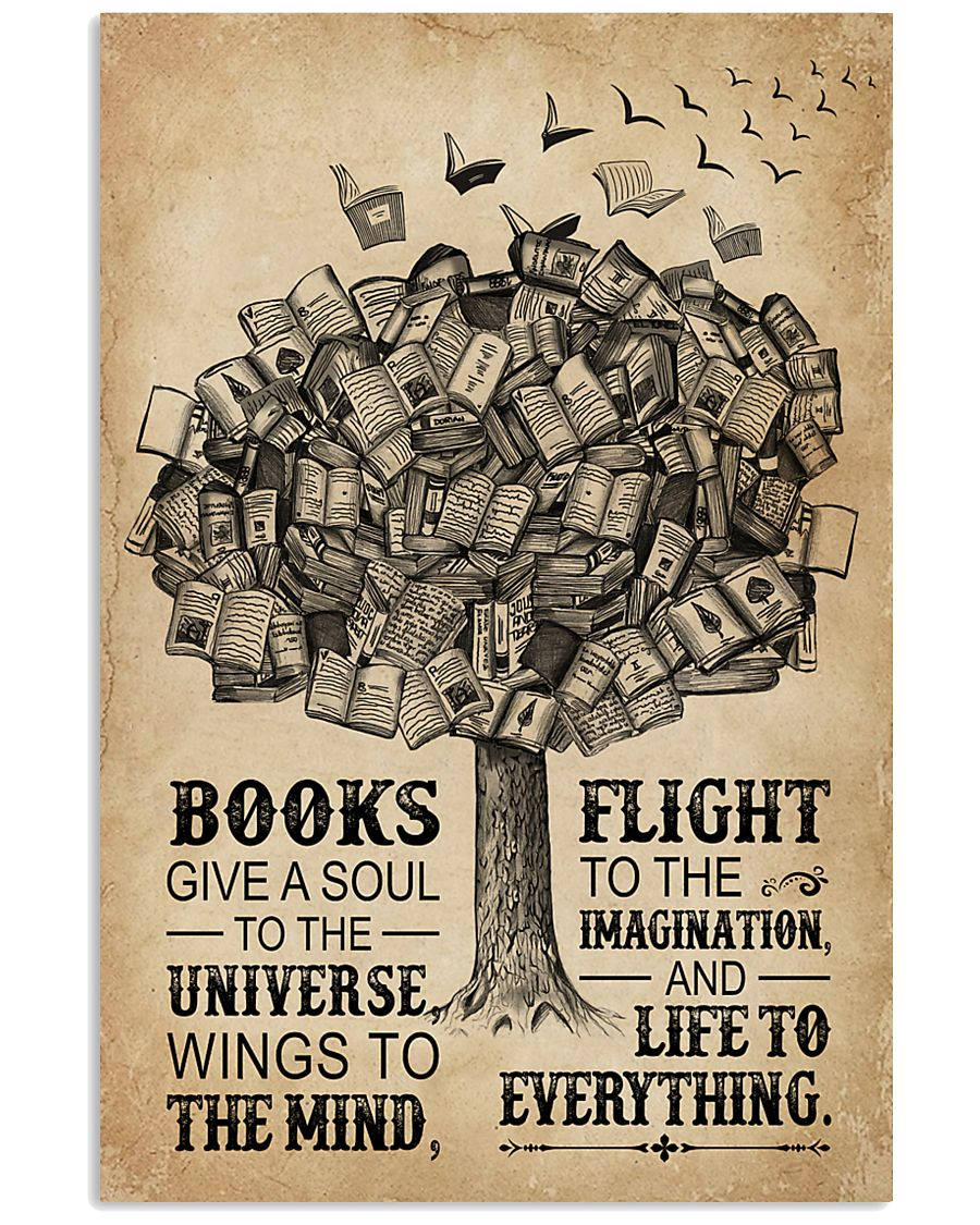 Books Give A Soul Reading Tree 16x24 Poster
