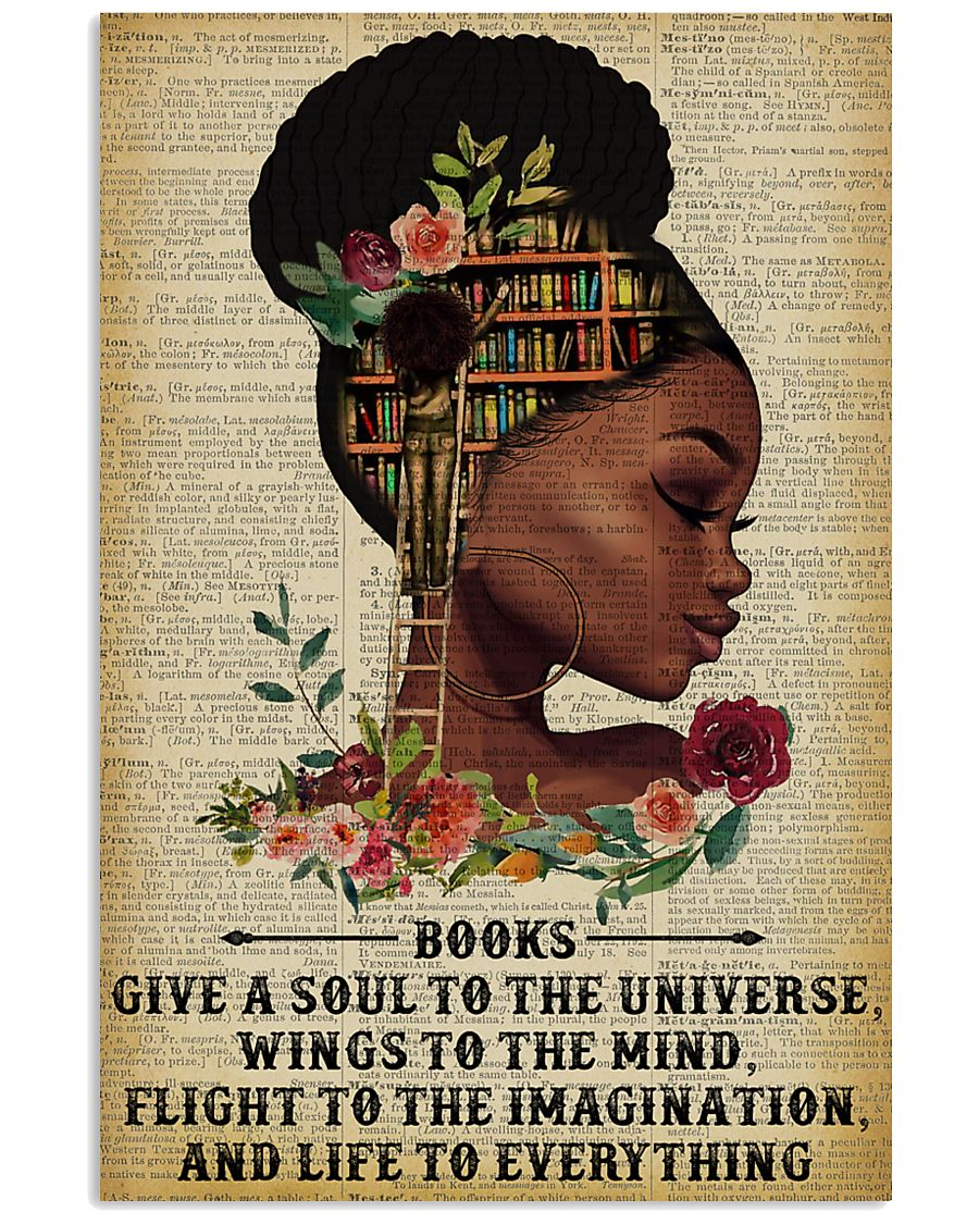 Books Give A Soul Reading Black Girl 11x17 Poster