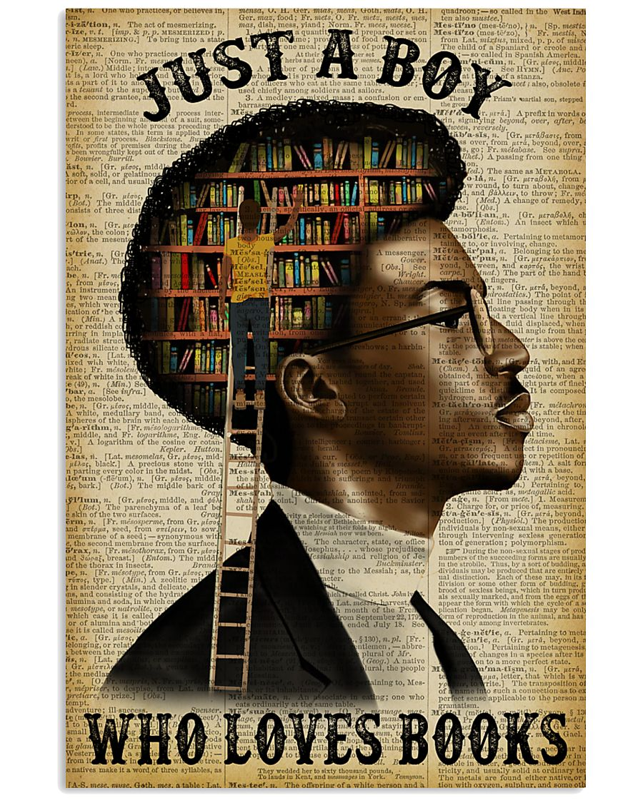 Just A Boy Who Loves Books Black Reading 11x17 Poster