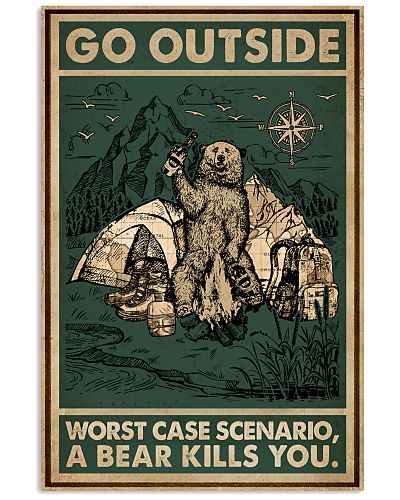 Retro Green Go Outside Bear Camping