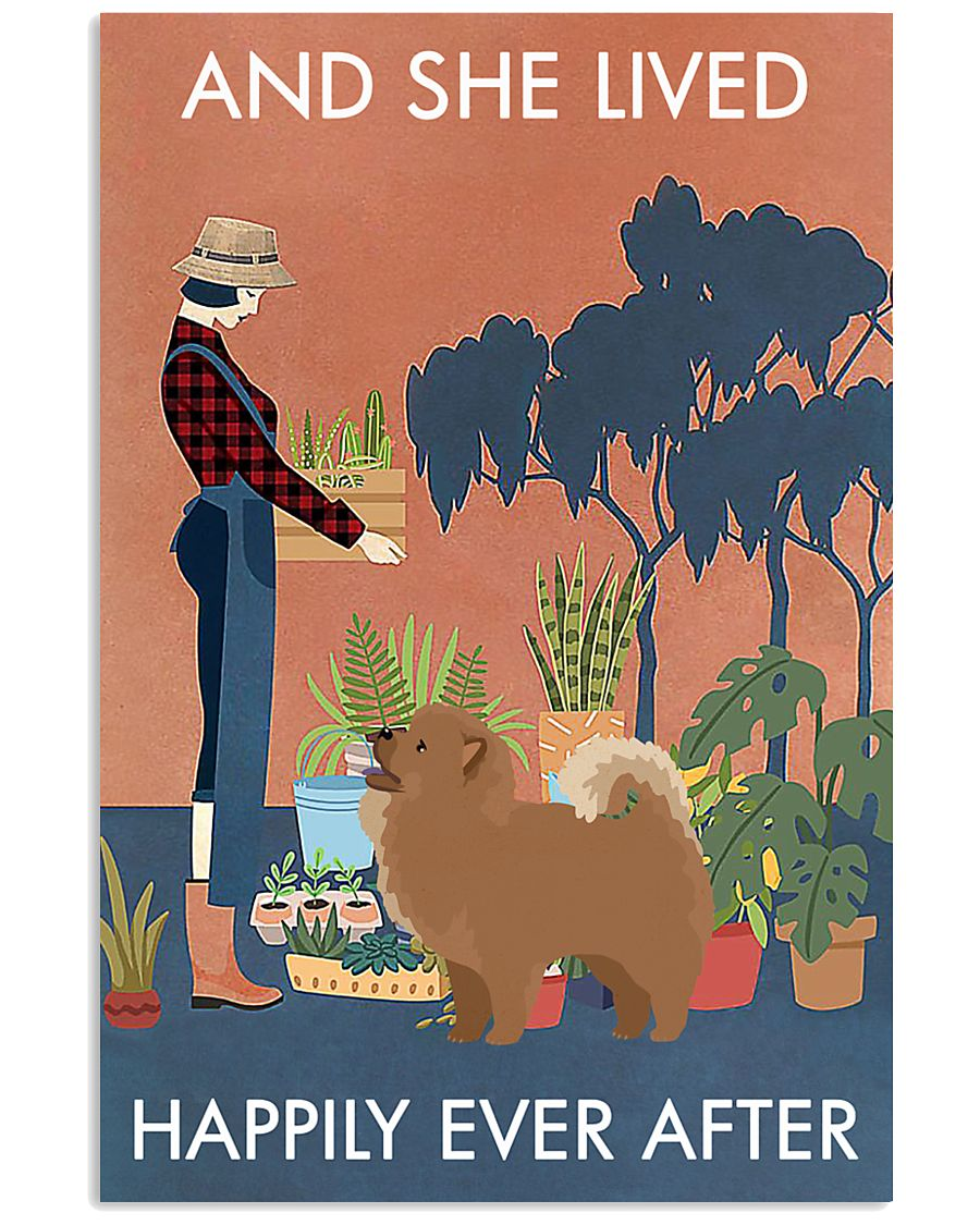 Vintage And She Lived Happily Gardening Chow Chow 11x17 Poster