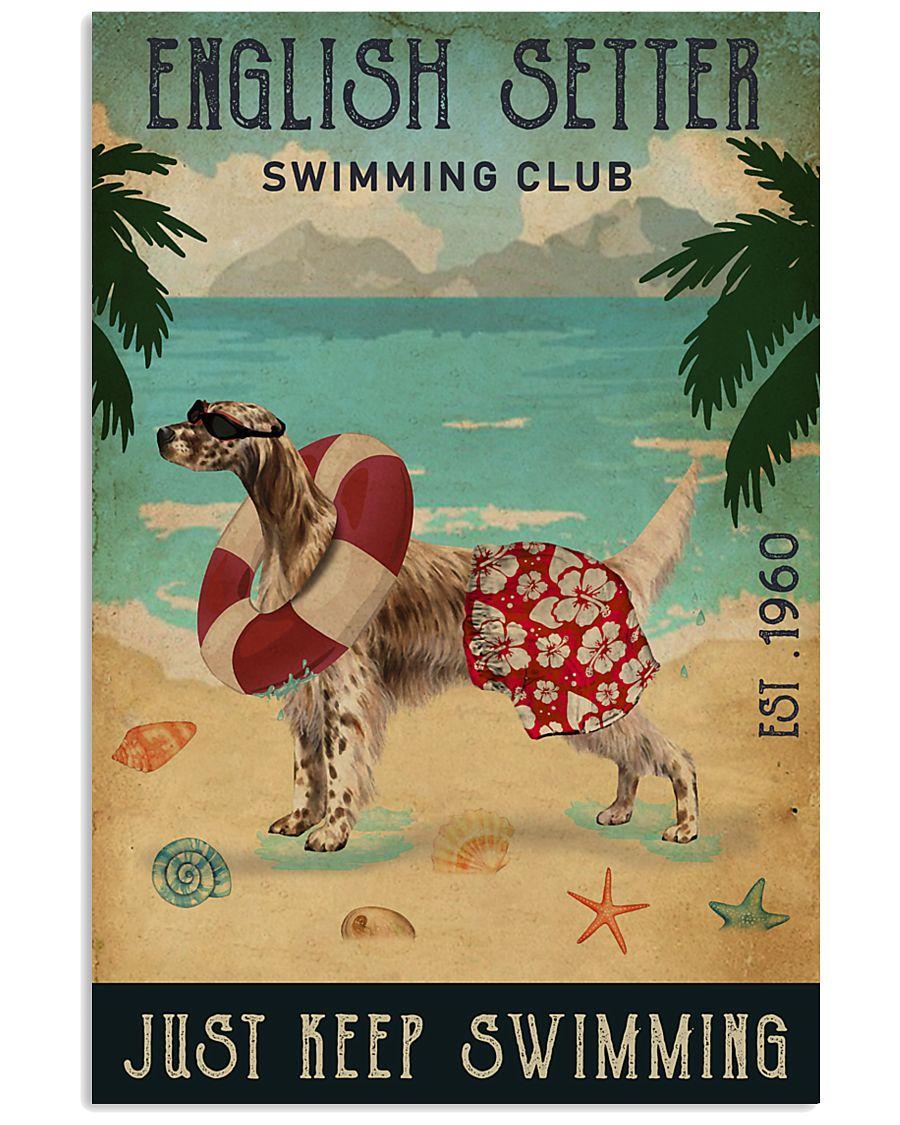 Vintage Swimming Club English Setter 11x17 Poster