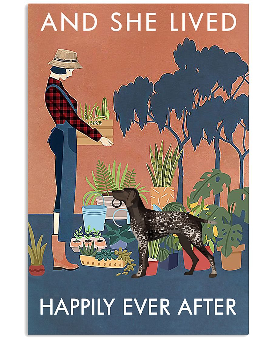 Vintage Live Happy Gardening German Shorthaired 11x17 Poster