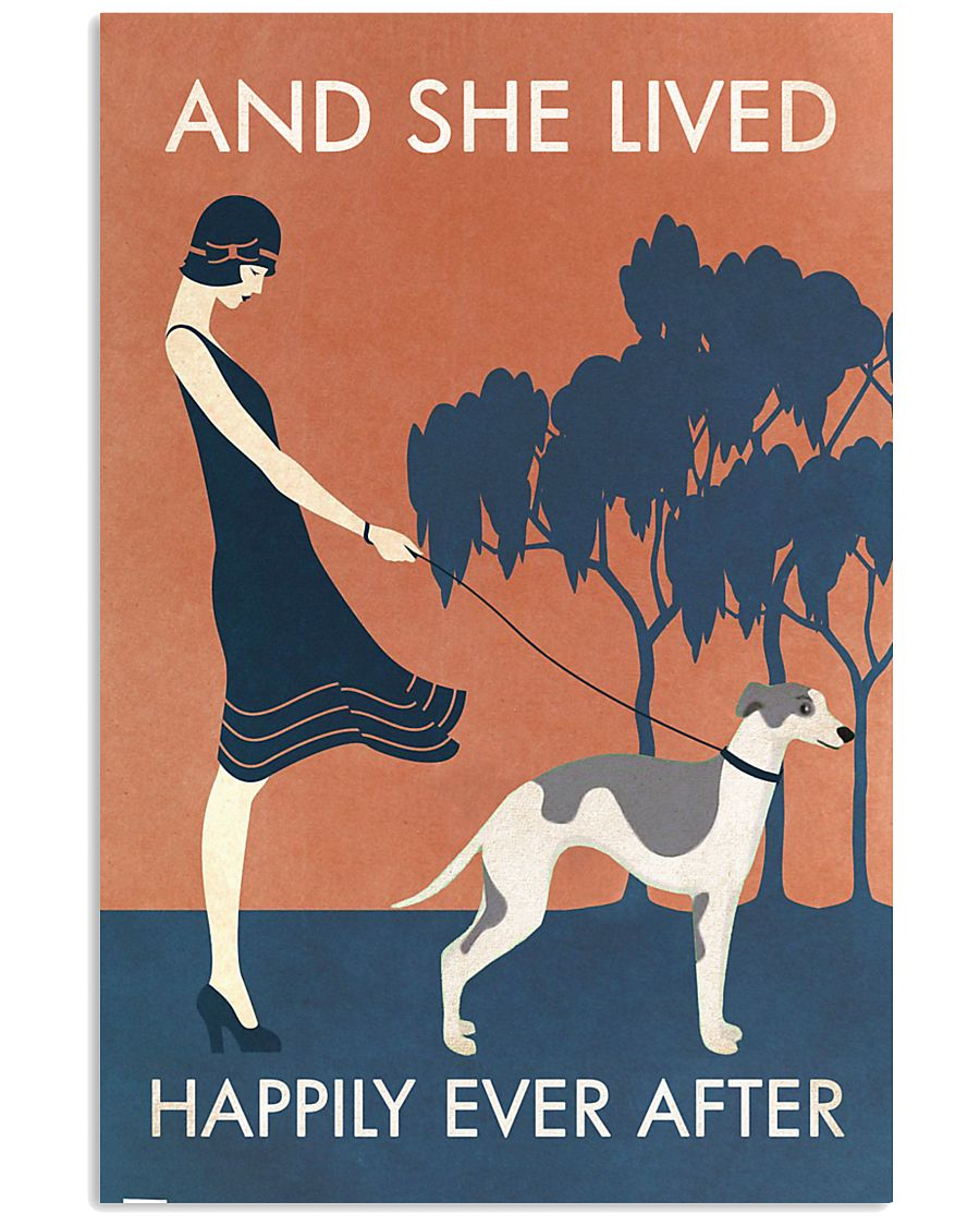 Vintage Girl Lived Happily Whippet 11x17 Poster