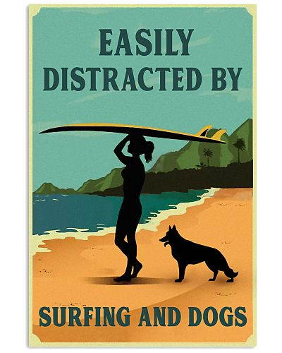 Vintage Distracted Surfing Girl German Shepherd