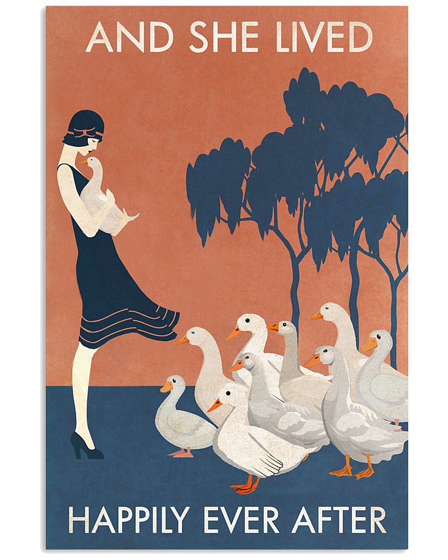 Vintage Girl Lived Happily Duck 11x17 Poster