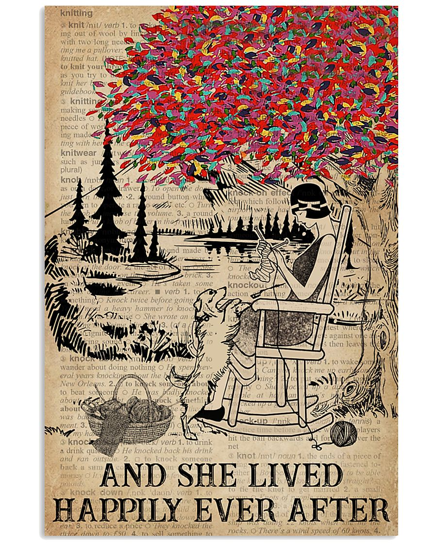Dictionary Lived Happily Dog Knitting Girl 11x17 Poster