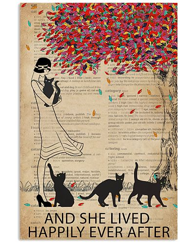 Vintage Dictionary Lived Happily Black Cats