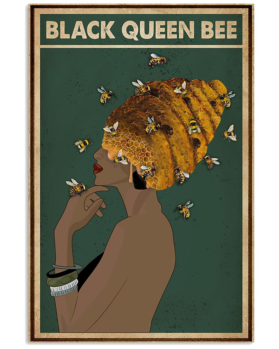 Black Queen Bee Afro Retro Green 16x24 Poster