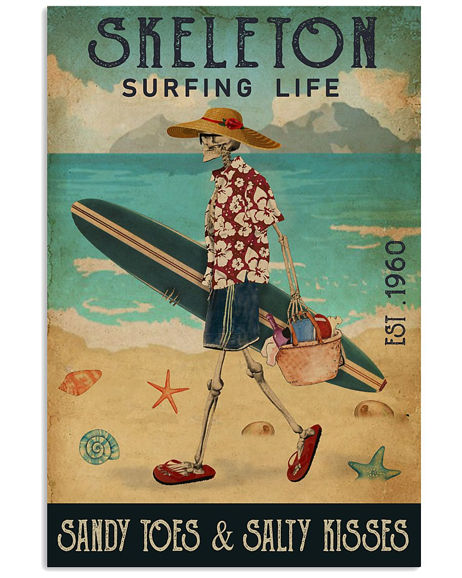 Surfing Life Sandy Toes Skeleton 11x17 Poster