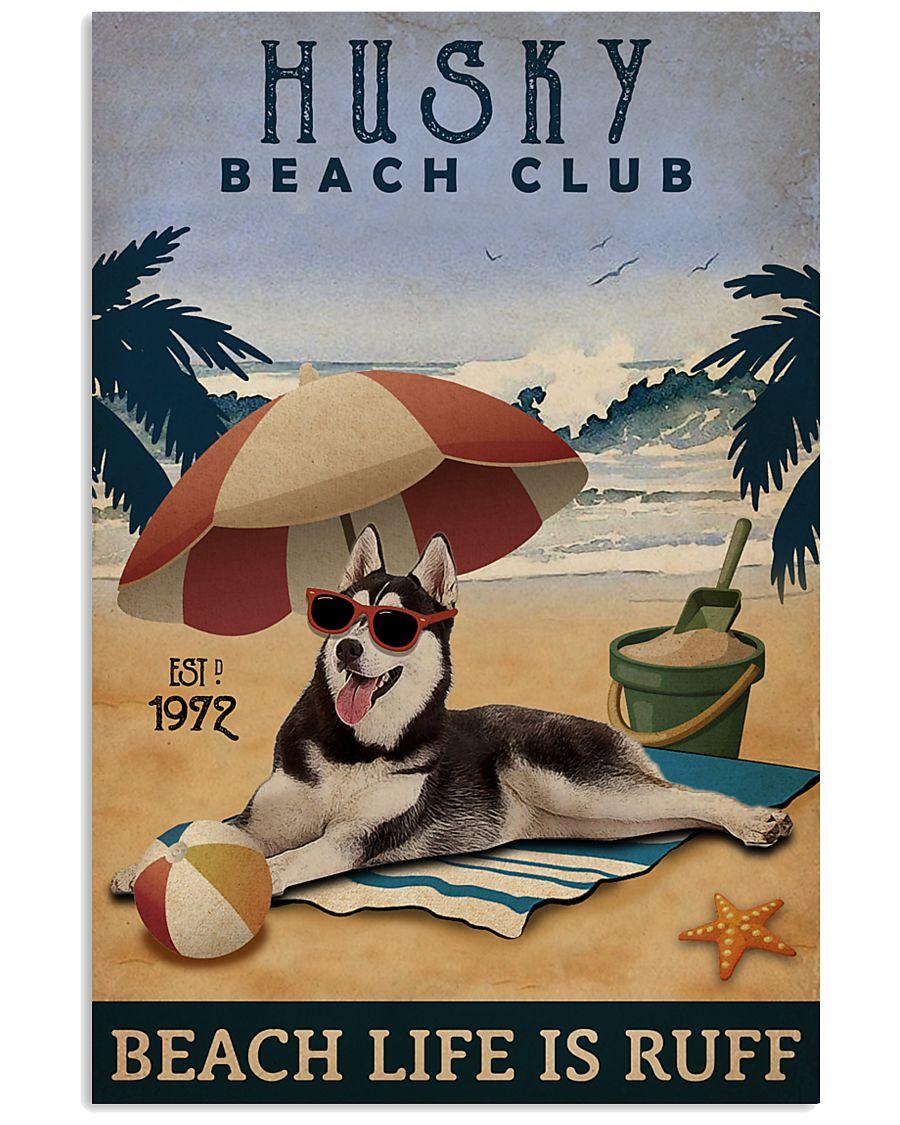 Vintage Beach Club Is Ruff Husky 11x17 Poster