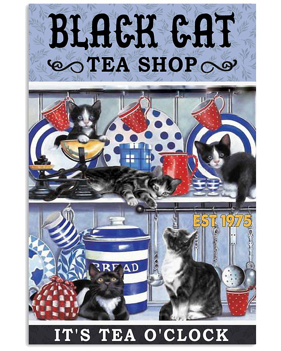 Black Cat Tea Shop Cat Lover 11x17 Poster