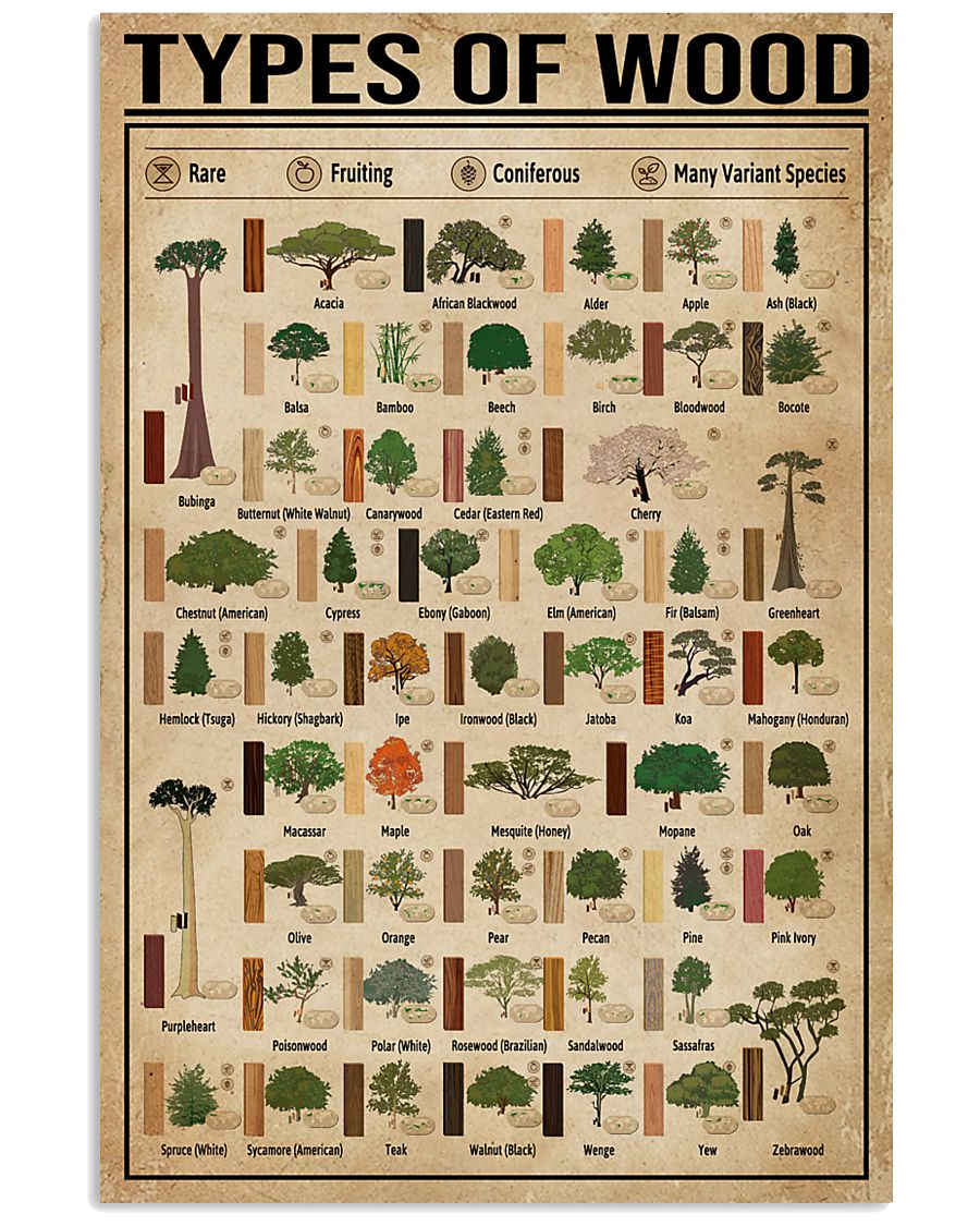 Types Of Wood Carpentry 16x24 Poster