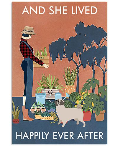 Vintage And She Lived Happily Gardening Pug