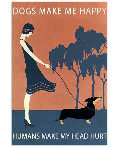 Vintage Girl Dogs Make Me Happy Dachshund